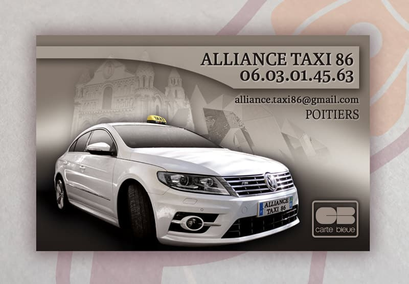 ALLIANCE TAXI Carte De Visite 2015 Recto
